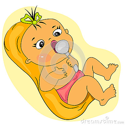 Cartoon baby eating. little girl meal time