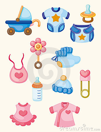 Cartoon baby good icon set