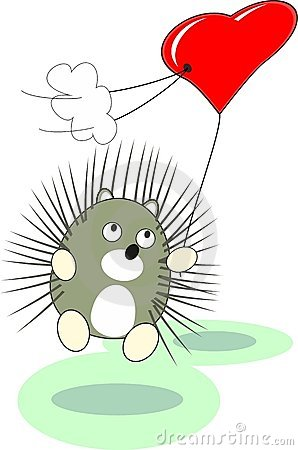 Cartoon baby hedgehog toy with red heart balloon