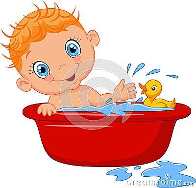 Free Cartoon Baby In A Bath Splashing Water Royalty Free Stock Photo - 50839845