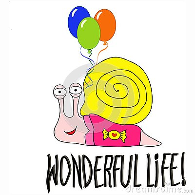 Cartoon baby snail with balloons Vector Illustration