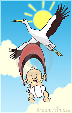 Cartoon baby and stork