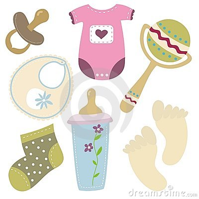 Cartoon baby stuff icons