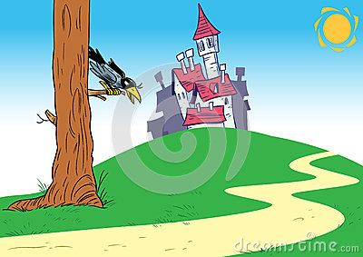 cartoon background with castle royalty free stock