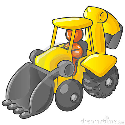 Cartoon backhoe with man