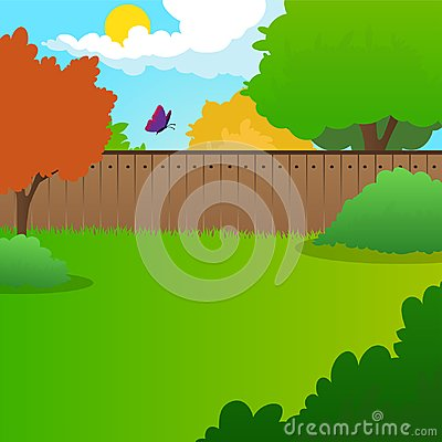 Free Cartoon Backyard Landscape With Green Meadow, Bushes, Trees, Wooden Fence, Blue Sky And Flying Butterfly. Summer Nature Stock Images - 106688644