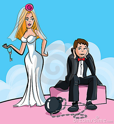 Cartoon Ball and chain. Just married