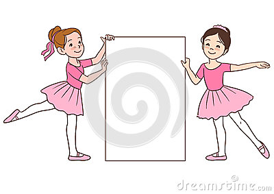 Cartoon Ballerina Girls Holding Blank Sign Template Stock Vector ...