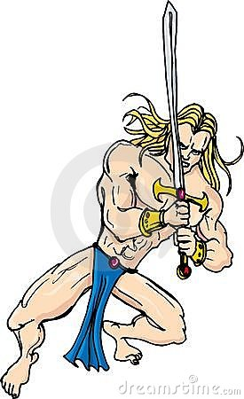 Cartoon barbarian swordsman with blonde hair