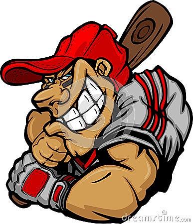 Cartoon Baseball Player Batting Design