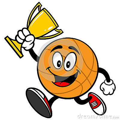 Cartoon Basketball Running With Trophy Stock Vector - Image: 53745263