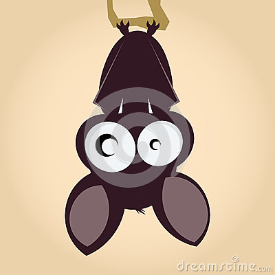 Cartoon bat hanging