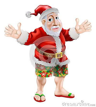 Cartoon beach Santa