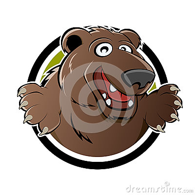 Cartoon bear in badge