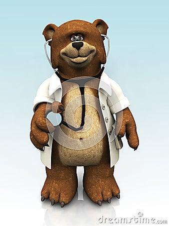 Cartoon bear dressed as doctor.