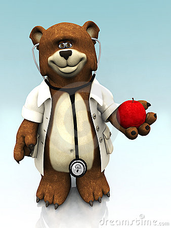 Cartoon bear dressed as doctor, holding an apple.