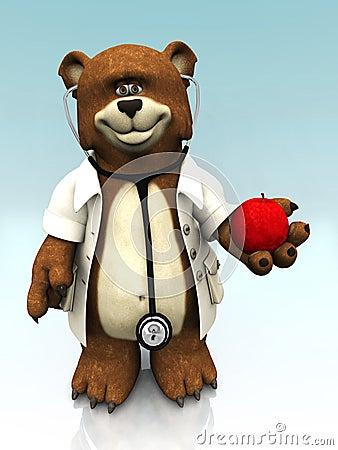 Cartoon bear dressed as doctor, holding an apple.