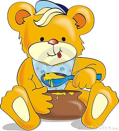 Free Cartoon Bear Eating Honey With Appetite Stock Photos - 978473