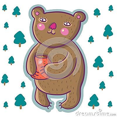 Cartoon bear with honey pot