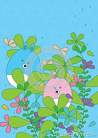 Cartoon Bear Leaves Flourish Rainy_eps