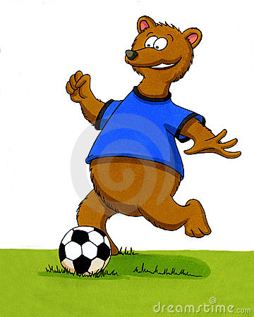 Cartoon bear playing football