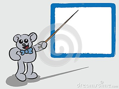 Cartoon Bear Teaching with Whiteboard