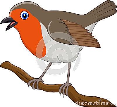 Cartoon Beautiful Robin Bird Stock Vector - Image: 79294778