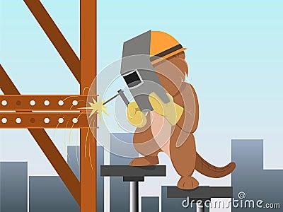 Cartoon beaver in mask welding metal construction