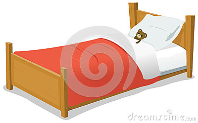 Cartoon Bed With Teddy Bear