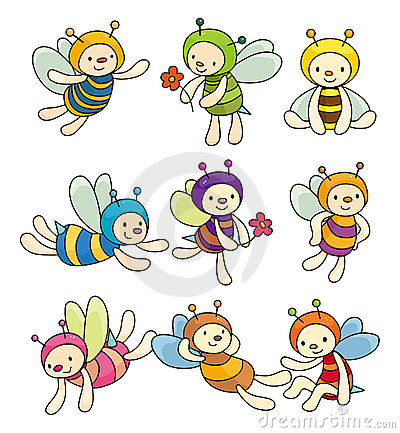 Free Cartoon Bee Boy Icon Set Stock Image - 20560111