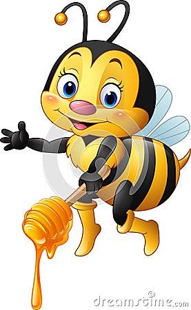 Free Cartoon Bee Holding Honey Dipper Stock Image - 77652171