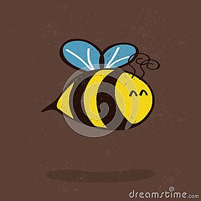 Cartoon bee with shadow