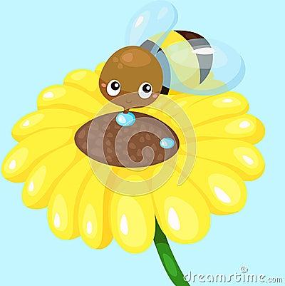Cartoon bee with sunflower