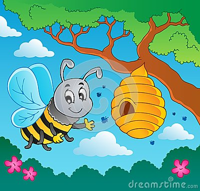 Free Cartoon Bee With Hive Stock Photos - 25544253