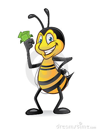 Free Cartoon Bee With Money Royalty Free Stock Photography - 22824267