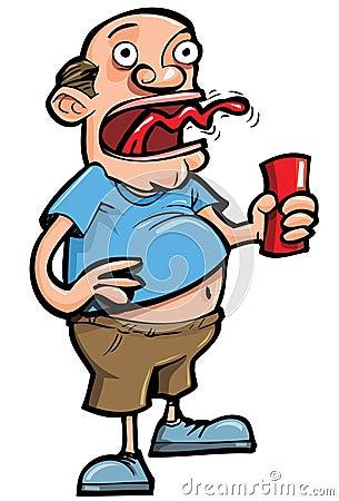 Cartoon of beer drinker belching