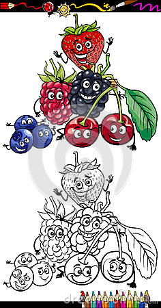Cartoon berry fruits for coloring book
