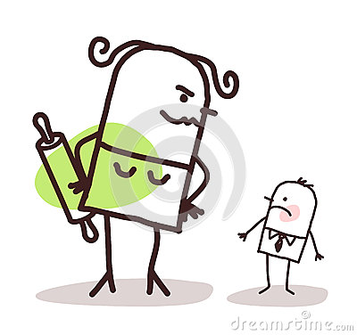 Cartoon big angry wife against a small shy husband Vector Illustration