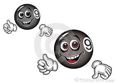 Cartoon billiard ball