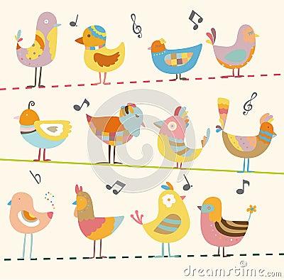 Free Cartoon Bird Card Royalty Free Stock Image - 17634976