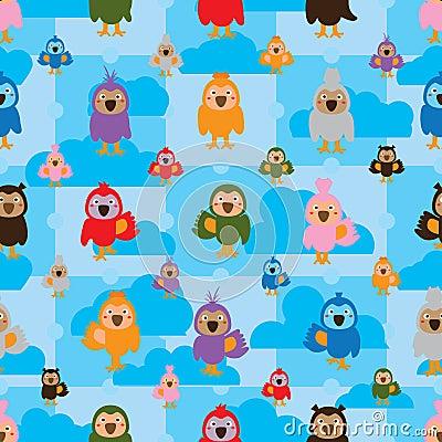 Free Cartoon Bird Color Symmetry Cloud Seamless Pattern Stock Photography - 67128732
