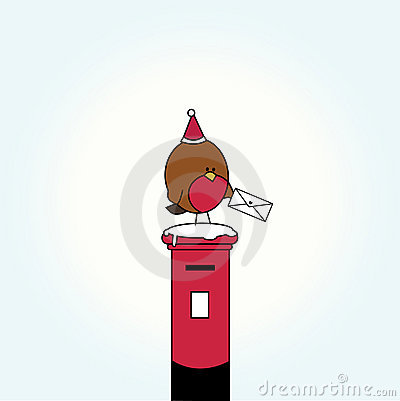 Cartoon bird on letter box