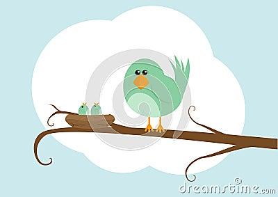 Cartoon bird with nest