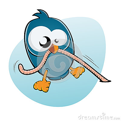 Cartoon Bird And Worm Royalty Free Stock Photo Image