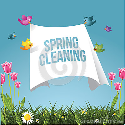 Free Cartoon Birds Flying With Spring Cleaning Message Stock Photography - 50554642