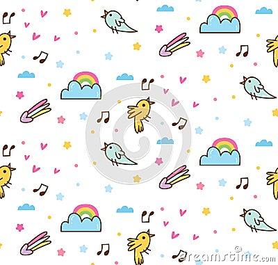 Cartoon birds singing seamless background Stock Photo