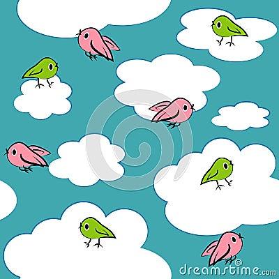 Cartoon birds in sky seamless pattern.