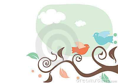 Cartoon birds on a tree
