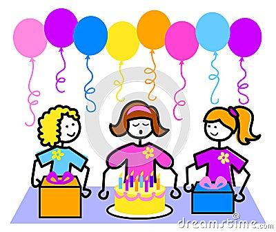 Cartoon Birthday Party Girl/eps