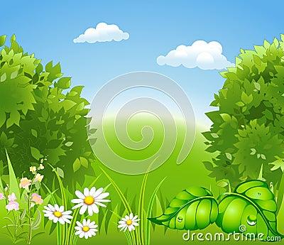 Cartoon blossoming nature